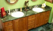 Covenant Construction Group - Bathroom Remodel, After, His and Hers Vanities and Custom Marble Tile - Ann Arbor, MI
