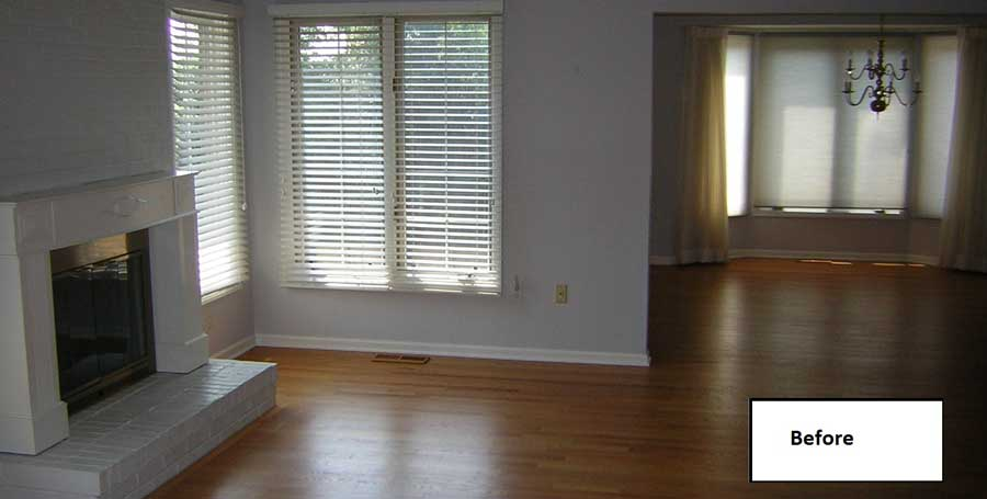 Covenant Construction Group - Condo Remodel, Before, Living Room - Ann Arbor, MI